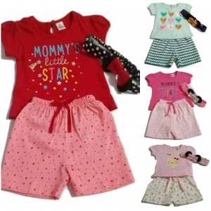Infant girls summers set  Printed top with matching shorts set