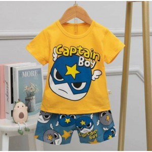 Kids summer set Animated cartoon top with printed shorts