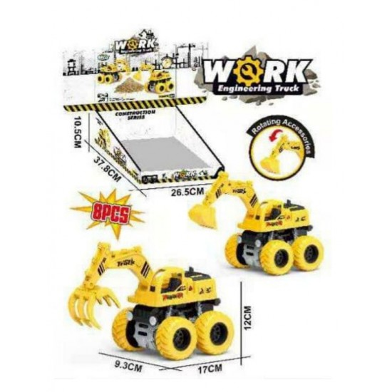 Construction Trucks Toy   Kids Engineering Toys for  Pull Back Cars Excavator Digger Tractor Bulldozer Dump Cement Toys Gifts for Party Favor