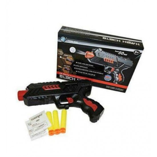 Water Bullet 2 in one Pistol with 400 Jelly Shot and 3 Soft Foam Bullets Good Quality Gun (Black Hawk)