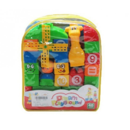 FunBlast Learning Blocks for Kids with Cartoon Figures, Bag Packing, Best Gift Toy, Multicolor (Set of 35 Pcs)