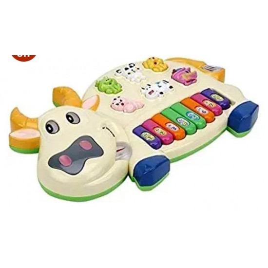Cow Musical Piano with 3 Modes Animal Sounds, Flashing Lights Wonderful Music (Battery Included)